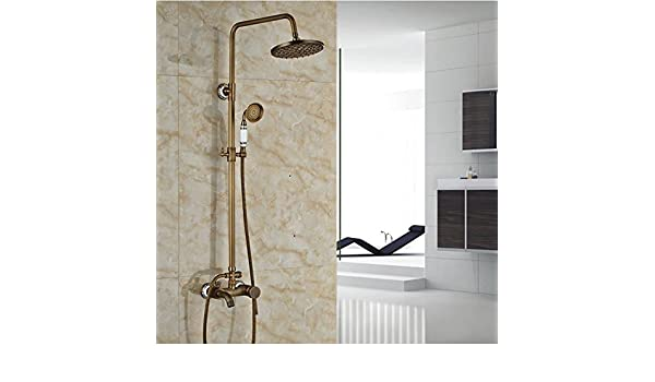 GOWE Luxury Wall Mount Brass & Ceramic Shower Mixer Taps Single Handle Rainfall Shower Faucet Set Antique Brass color:clear Electric Motors Electrical