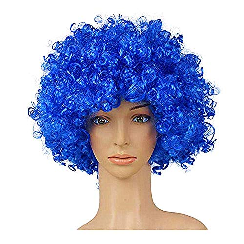 KATCOCO Hippie Style Afro Wig Heat Resistant Colorful Syntheic Cosplay Daily Party Wig (Blue)