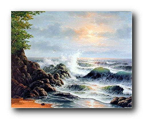 Landscape Wall Decor Ocean Crashing Waves Surf on Rock Scenic Picture Art Print Poster (16x20) (Scenic Posters)