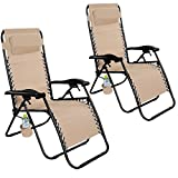 Giantex Folding Zero Gravity Reclining Lounge Chairs Outdoor Beach Patio Yard New (2Light Brown)