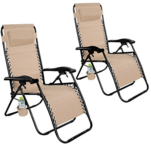 Giantex Folding Zero Gravity Reclining Lounge Chairs Outdoor Beach Patio Yard New (2Light Brown)