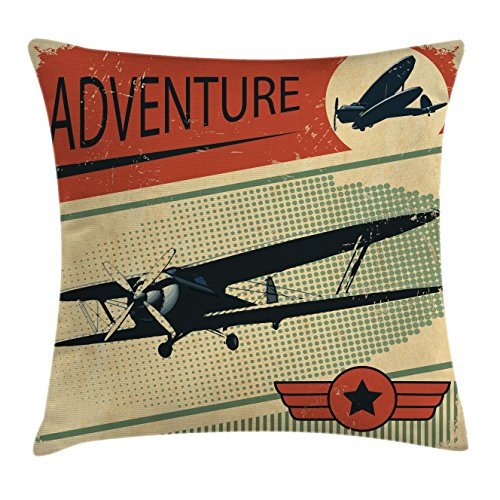 Vintage Decor Throw Pillow Cushion Cover by Ambesonne, Nostalgic Small on Dotted Grunge Backdrop Military Adventure Airpark Plane Graphic, Decorative Square Accent Pillow Case, 18 X18 Inches, Multi (Graphics Plane)
