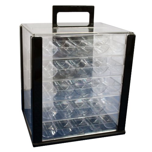NEW 1000 CASINO POKER CHIPS CASE CARRIER WITH ACRYLIC RACKS by IDS
