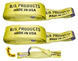 Pair BA Products 8'' 2 ply 40' with extra eye at 30' Monster Recovery Strap tow truck wrecker recovery