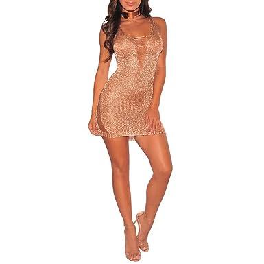 912f0324e4 Women Sexy V Neck Sweater Beach Tank Dress Bikini Swimsuit Cover Ups Rose  Gold S