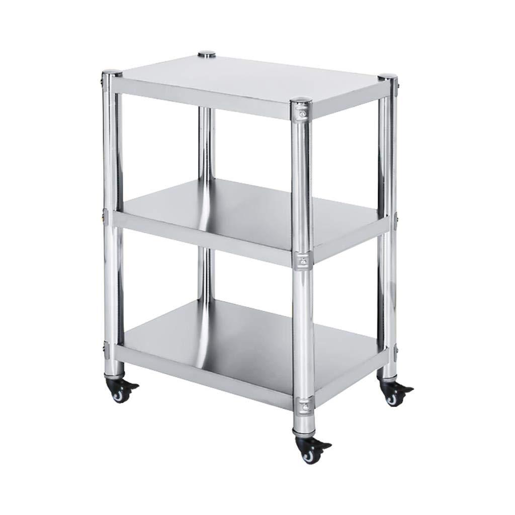 Trre@ Küche Storage Wagen, 3 Tier Edelstahlregale mit Rad, Bäckerregale für Home Office Organisation Küche Badezimmer