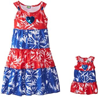 Dollie & Me Little Girls' Tier Print Dress, Red/White/Blue, 6X