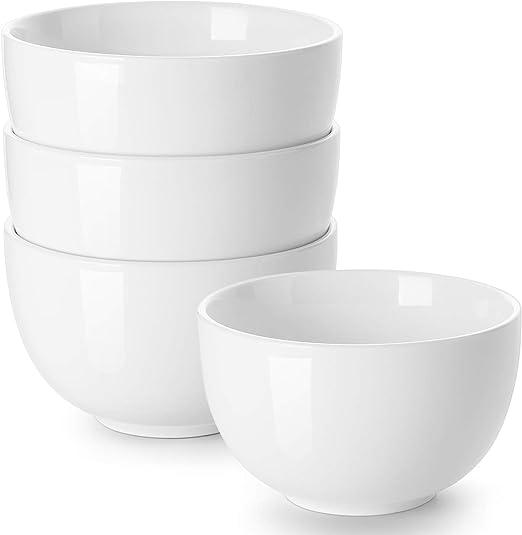 Dowan Deep Soup Bowls 30 Ounces White Cereal Bowl For Oatmeal Ceramic Ramen Bowls For Noodle Porcelain Bowls Set 4 For Kitchen Dishwasher Microwave Safe Soup Bowls