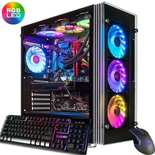 CUK Stratos VR Ready Gamer PC (Liquid Cooled Intel i9-9900K, 32GB RAM, 500GB NVMe SSD + 2TB HDD, NVIDIA GeForce RTX 2080 8GB, 600W Gold PSU, Windows 10) Gaming Desktop Computer with 7 RGB Lotus Fans