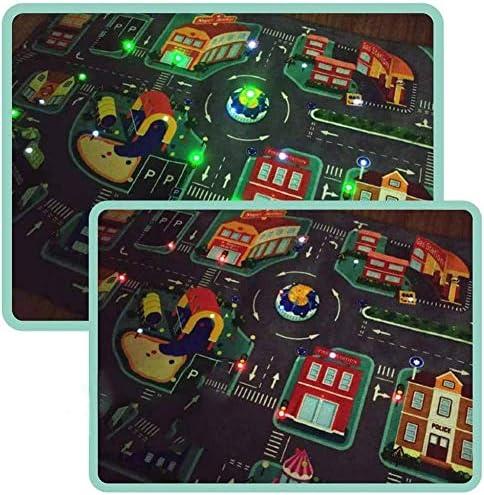 Kids Carpet Playmat Rug City Life Educational Road Traffic Carpet Multi Color Play LED Traffic Light Mat Illuminate Crawling Mat Wrinkle Free Non-Slip Fun Carpet City Map 40x30