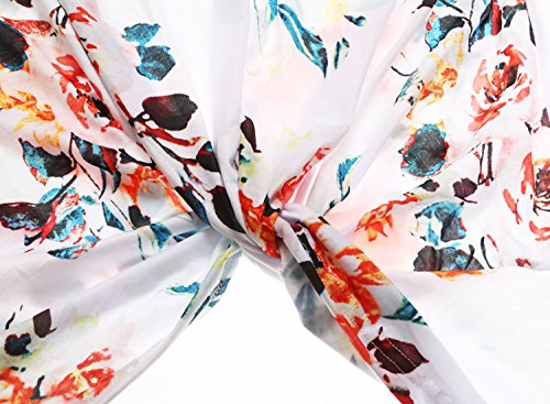 Dokotoo Womens Summer Sexy Fashion Floral Tops and Blouses for Juniors White Large by Dokotoo (Image #5)
