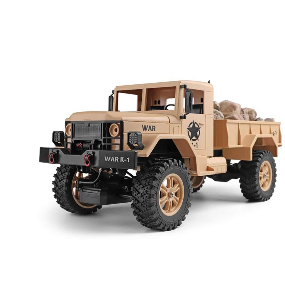 Pinjeer 10キロメートル/ h 1:12軍用トラックリモートコントロール車オフロード車充電四輪駆動1:12大型クライミングカーのおもちゃ男の子ギフト用キッズ7+ (Color : Brown, サイズ : 4-Battery) B07QYZNYDF Brown 4-Battery