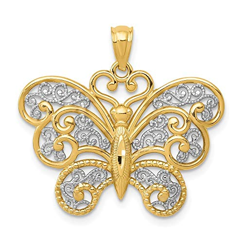 14K Yellow Gold with Rhodium Filigree Butterfly Pendant from Roy Rose Jewelry