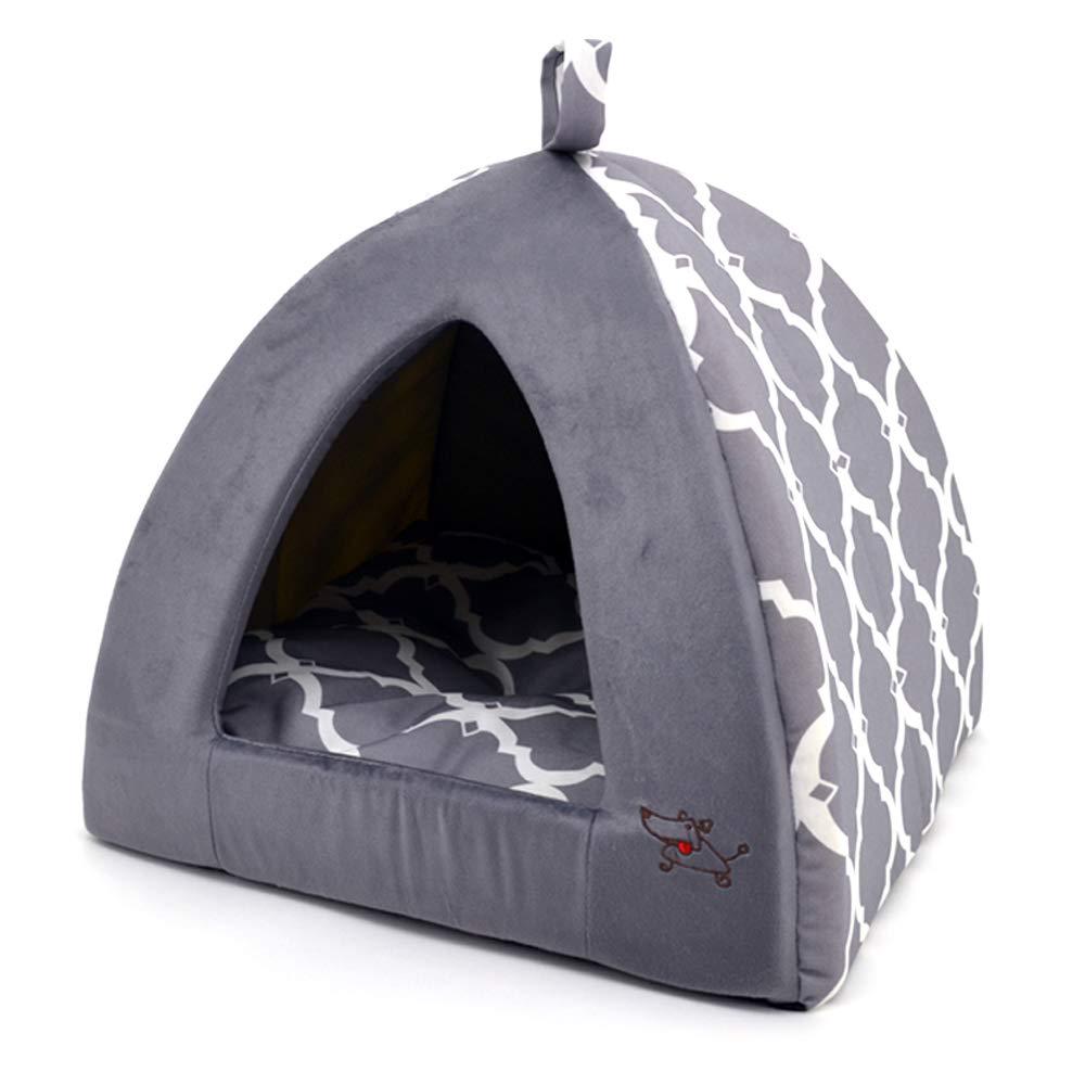 Linen Tent Bed for Pets - Gray Lattice, Medium by Best Pet Supplies, Inc.