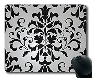 Beautiful Black and White Color Damask Masterpiece Limited Design Oblong Mouse Pad by Cases & Mousepads