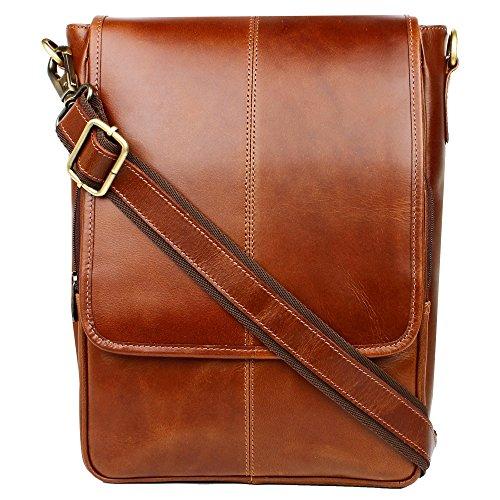 Vintage Leather Flapover Messenger Bag Fit for 10'' Laptop by Onlinemaniya
