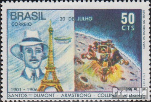 Brazil 1231 (complete issue) 1969 1. Manned Moon Landing (Stamps for collectors) Space