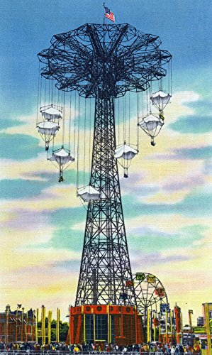 (Coney Island, New York - Steeplechase Park Parachute Jump Daytime Scene (24x36 SIGNED Print Master Giclee Print w/Certificate of Authenticity - Wall Decor Travel Poster))