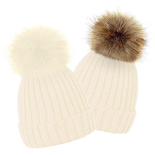 e1f4e24ac1d TOSKATOK Kids Girls Winter Beanie Bobble Hat with Detachable Changeable Faux  Fur Pom Pom