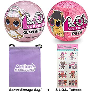 LOL Surprise Dolls Gift Bundle Includes (1) Limited Edition Glitter Glam + (1) Eye Spy Series 4 Pets + 8 L.O.L Tattoos + Bonus Action Media Storage Bag!