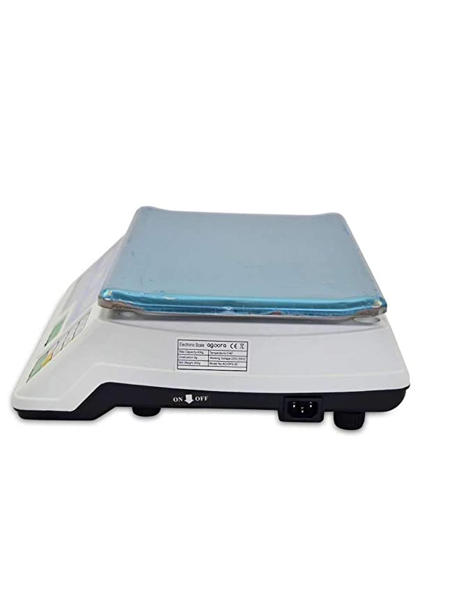 Bascula Comercial 40kg/2g, Plataforma de Acero Inoxidable 33x24cm, Batería Interna Recargable con 40 Horas de Autonomía, Balanza Digital Profesional ...
