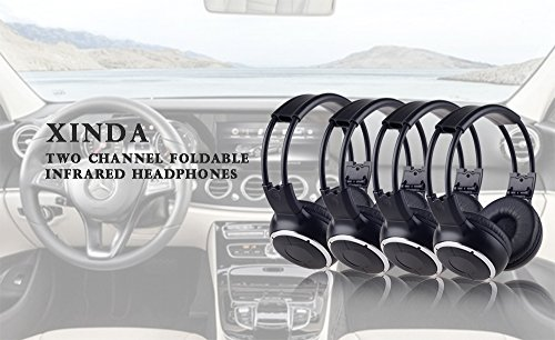 2018 Updated Car Headphone,XINDA 4 Packs IR Car Headphone Double Channel Wireless Vechile Headset Foldable for In-Car TV DVD Video - Headphone Four Pack