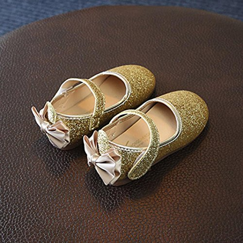 Prevently Mädchen Prinzessin Schuhe Pailletten Tanzschuhe Schuhe Baby Mädchen Bowknot Sandalen Pailletten Sneaker Kleinkind Kinder Casual Einzelne Schuhe Gold