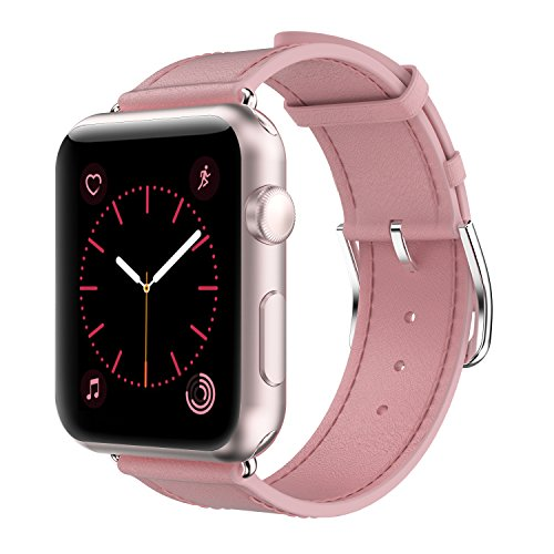 Pink Leather Band (Yearscase 42MM Genuine Leather Replacement Band with Classic Metal Adapter Clasp Single Tour for Apple Watch Series 3 Series 2 Series 1 Nike+ Hermes&Edition - Pink)