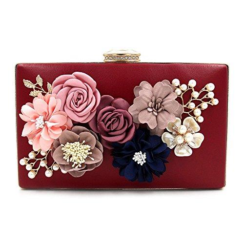 Beaded Hand Bag Flower Evening Red Clutch Pearl Dinner Satin Women's 0HZSqq