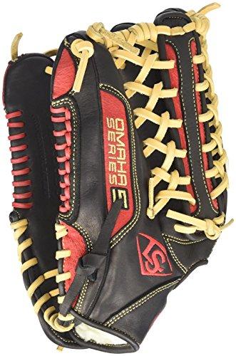 Louisville Slugger Omaha S5 Outfielder's Glove, Right, Black/Scarlet, 12.75'' by Louisville Slugger