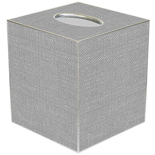 - Kelly Tissue Box Cover Tissue Holder Square Cube Decorative Grey Bathroom Decor Bathroom Accessories Linen Look Paper Mache