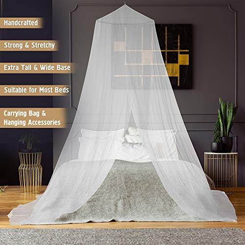 Mosquito Net and Bed Canopy Curtains - Keeps Away Insects and Flies - Perfect for Indoors and Outdoors- Netting Fits Most Size Beds, Cribs - Including Hanging Parts and a Free Carry Bag to Carry Along