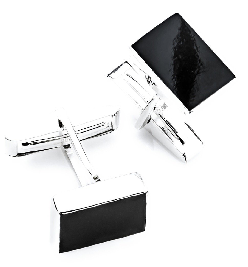 CdJ 925 Sterling Silver Cuff Links featuring 13x11mm Black Jadeite Jade Cabochons