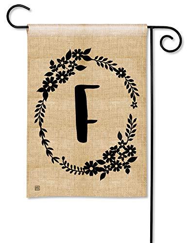 BreezeArt Studio M Rustic Monogram F Decorative Letter Burlap Look Garden Flag - Premium Quality, 12.5 x 18 Inches]()
