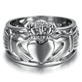 Alimab Stainless Steel Finger Rings Trinity Band Wedding Claddagh Ring For Men Women US Size 13