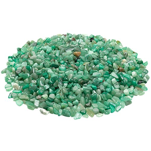 iSTONE Jewelry Grade A+ Natural Green Jade Aventurine Gemstone Tumbled Chips Stone Crushed Crystal Quartz Pieces Irregular Shaped Stones 1 pound(about 460 gram) Size 0.25~0.35'' by iSTONE Jewelry