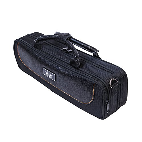 Paititi Genuine Leather ''B'' Flute Lightweight Case with Shoulder Strap Black Color by Paititi