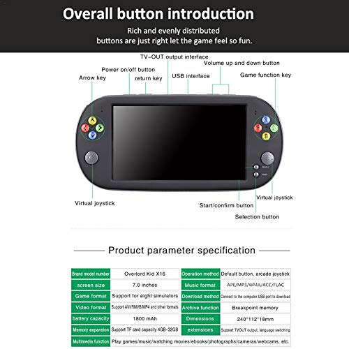 Handheld Game Console for Kids Adults, Large Screen HD Handheld GBA Arcade Game NES Nostalgic FC Handheld Game Console by decwang (Image #6)