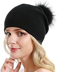 Queenfur Women Knit Wool Beanie Winter Cashmere Ski Hats Real Raccoon Fur Pom Pom