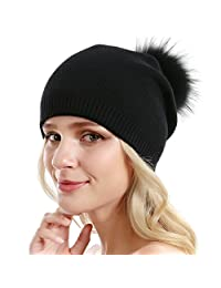Queenfur Women Knit Wool Beanie Winter Cashmere Ski Hats Real Raccoon Fur Pom Pom