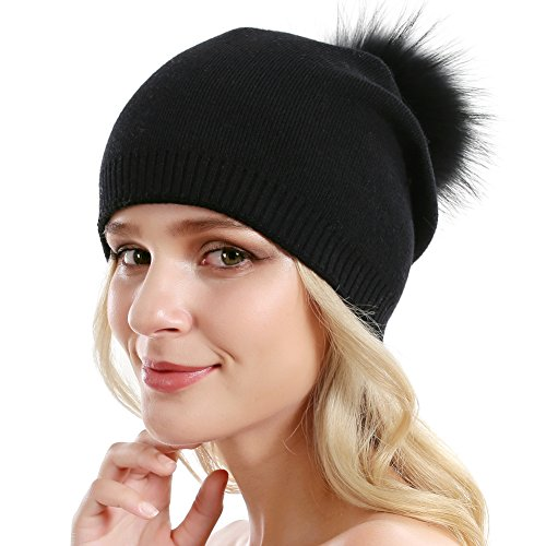 Women Knit Wool Beanie - Winter Solid Cashmere Ski Hats Real Raccoon Fur Pom Pom (All - Winter Hat Wool