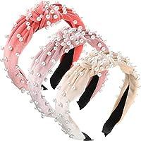3 Pieces Pearls Headband Wide Hair Hoop Velvet Pearls Headband Vintage Twisted Headwear for Girl Woman Hair Accessories (Beige, Pink, Coral Red)