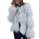 HP95(TM) New Fashion Womens Warm Faux Fur Coat Jacket Winter Parka Outerwear (XXL, Gray)