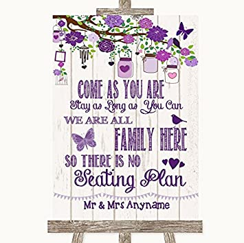 Letrero de boda de madera rústica púrpura para toda la ...