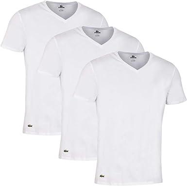 Lacoste Esencialalgodón 3-Pack Camiseta De Cuello En V, Negro: Amazon.es: Ropa y accesorios