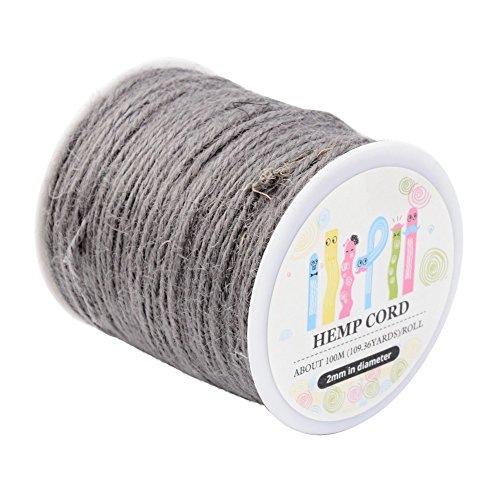 Pandahall 1 Roll(100m, about 100 Yards) LightGrey Colored Jute twine Jute String for Jewelry Making Craft Project, 2mm