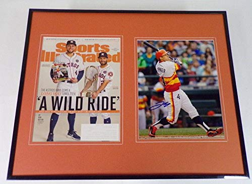 (Signed George Springer Photo - Framed 16x20 & Sports Illustrated Display WS - Autographed MLB Photos)