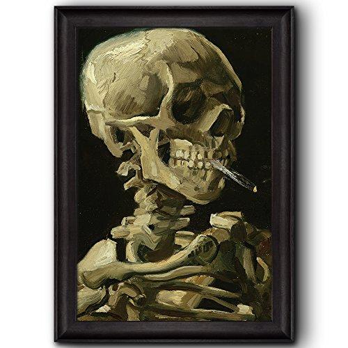 Skull of a Skeleton with Burning Cigarette by Vincent Van Gogh Oil Painting Impressionist Artist Framed Art