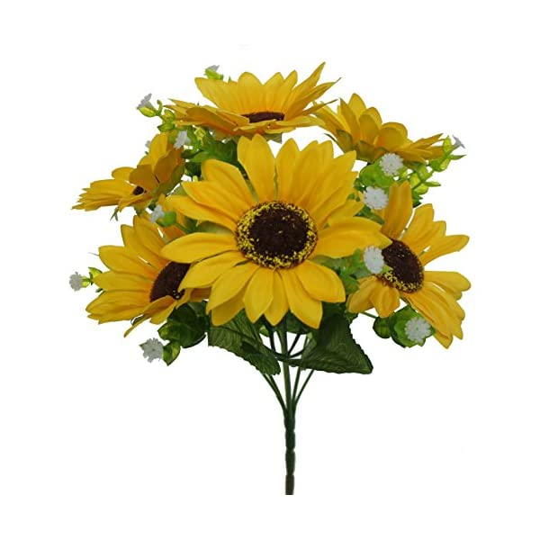Lily Garden Mini Artificial Sunflower 7-Stems Flowers and Baby's Breath (10)