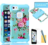 iPhone 5C Case ,Tradekmk(TM)Unique Noctilucence In the Dark Soft Silicone Elegant Flowers Hybrid High Impact Bumper Hard Back Case Cover Fit For Apple iPhone 5C(Blue),with Stylus Pen,Screen Protector and Cleaning Cloth
